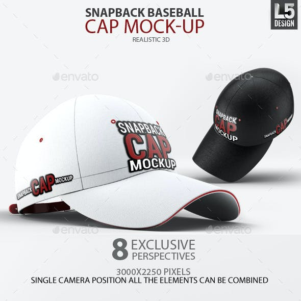 07b4b77ccab Snapback Baseball Cap Mock-Up by L5Design