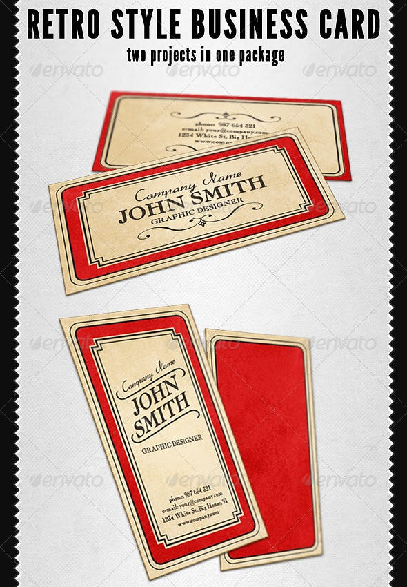 Retro Style Business Card By Martint Graphicriver