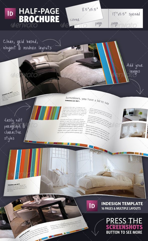 half page brochure indesign template by adriennepalmer graphicriver