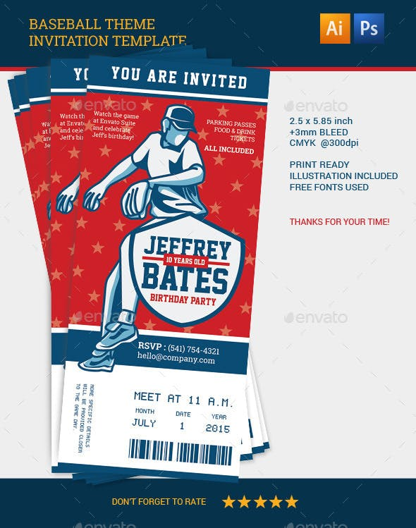 baseball theme invitation template by mahameru graphicriver