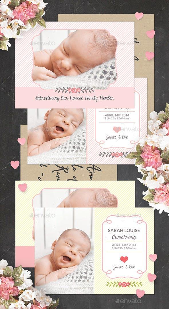 birth announcement template baby girl by carouselleriecreative