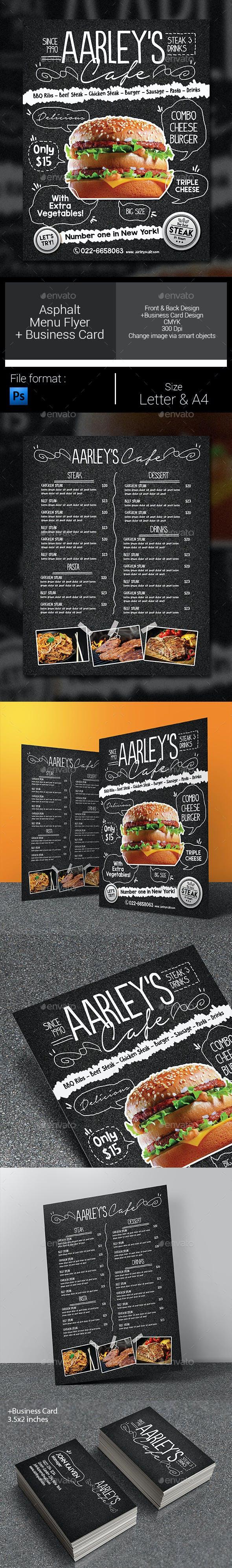 asphalt food menu flyer template by arifpoernomo graphicriver
