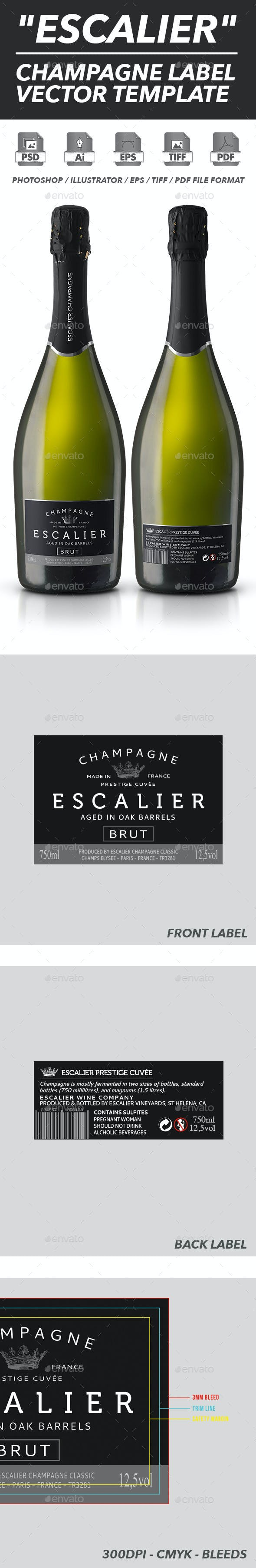 champagne label vector template by shinypixel graphicriver