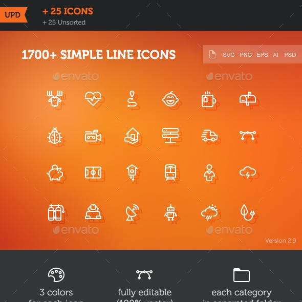 1700 Simple Line Icons by mir_design | GraphicRiver