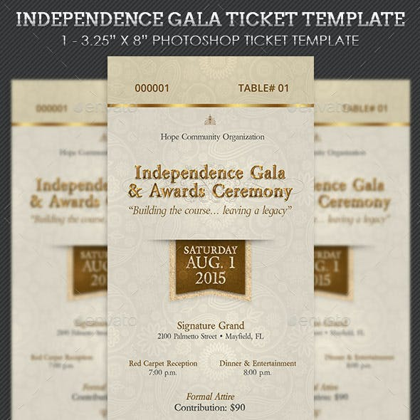 Independence Gala Ticket Template