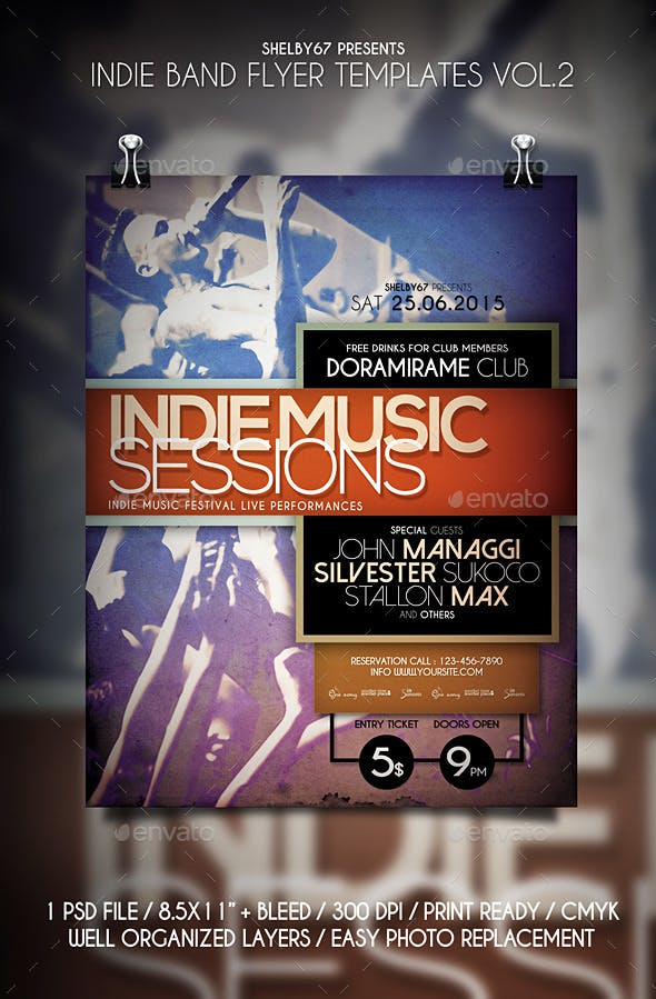 Indie Band Flyer Templates Vol 2 By Shelby67 GraphicRiver