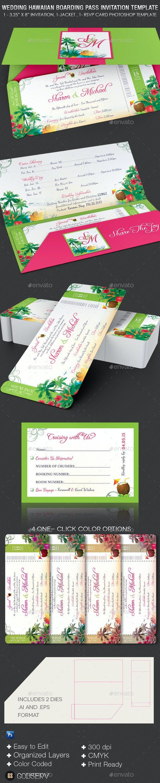 wedding hawaiian boarding pass invitation template by godserv