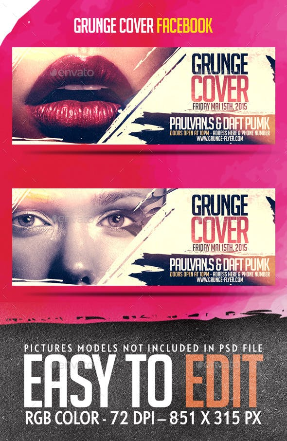 grunge cover facebook timeline template by stepconcept graphicriver
