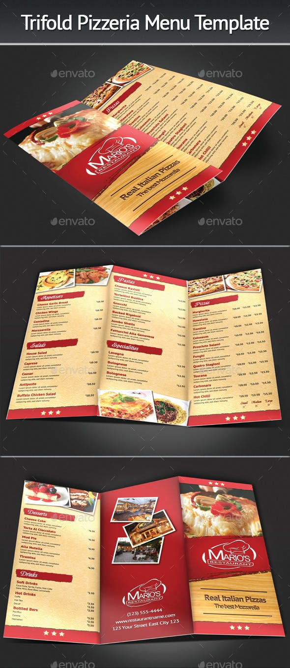 trifold pizzeria menu template by mograsol graphicriver