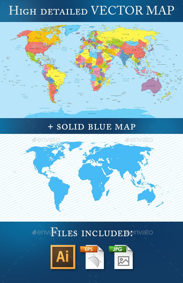 World Map with Countries and Names by illustranale   GraphicRiver