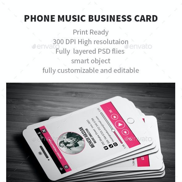 Business card templates designs with print dimensions 35x25 phone music business card reheart Choice Image