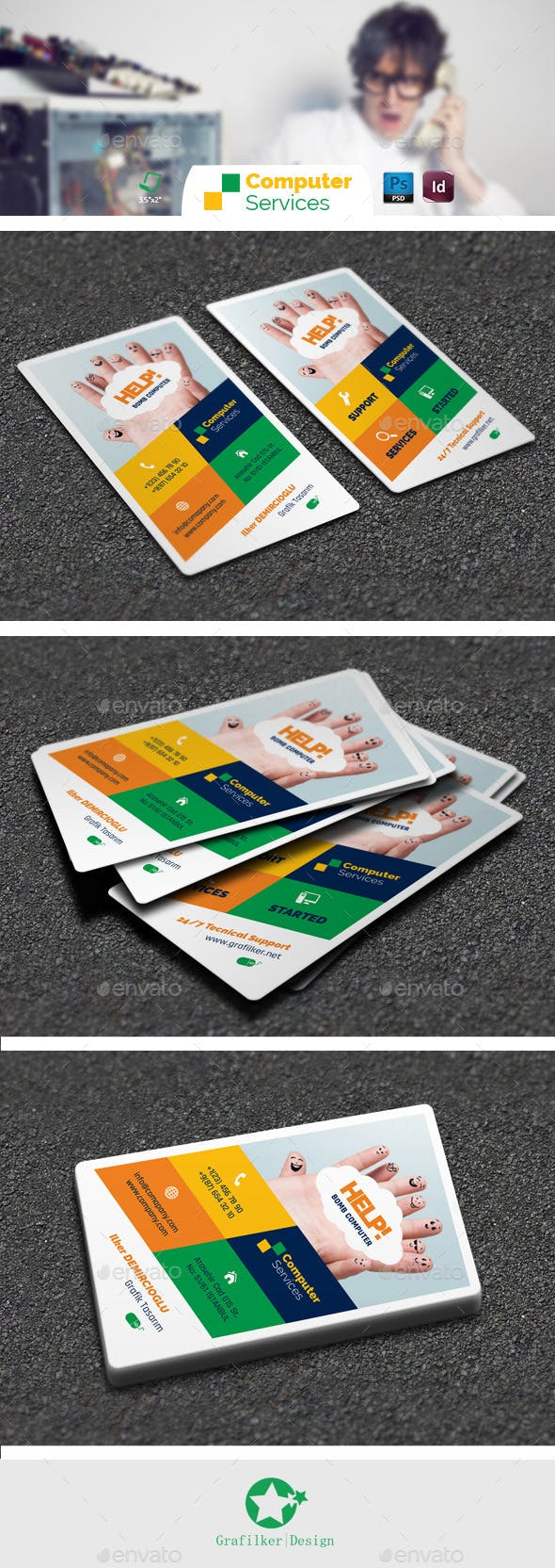 Computer Repair Business Card Templates By Grafilker Graphicriver