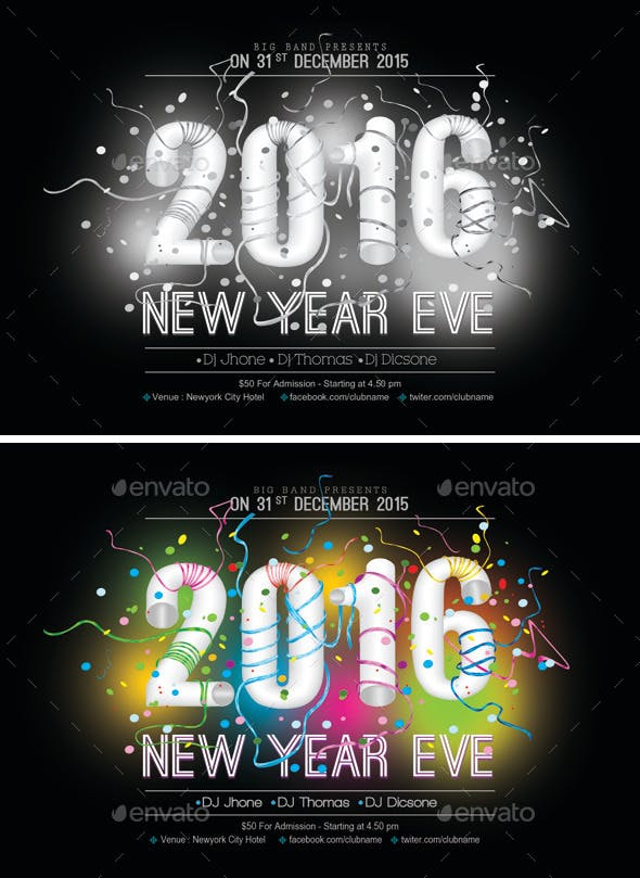 2016 new year flyer template 1 by kokk graphicriver
