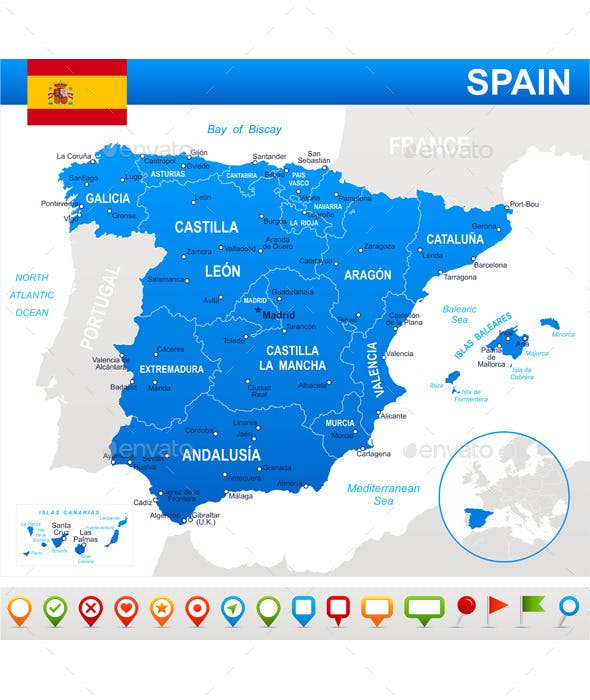 Spain Map Flag.Spain Map Flag And Navigation Icons By Dikobrazik Graphicriver