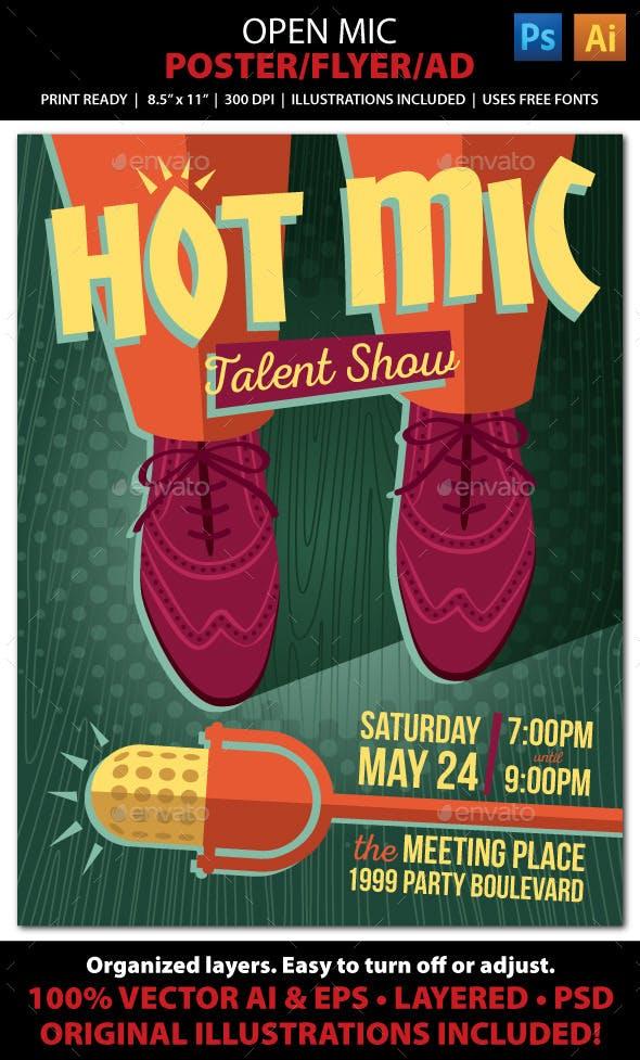 Open Mic Talent Karaoke Comedy Poster Or Ad By Juliefelton