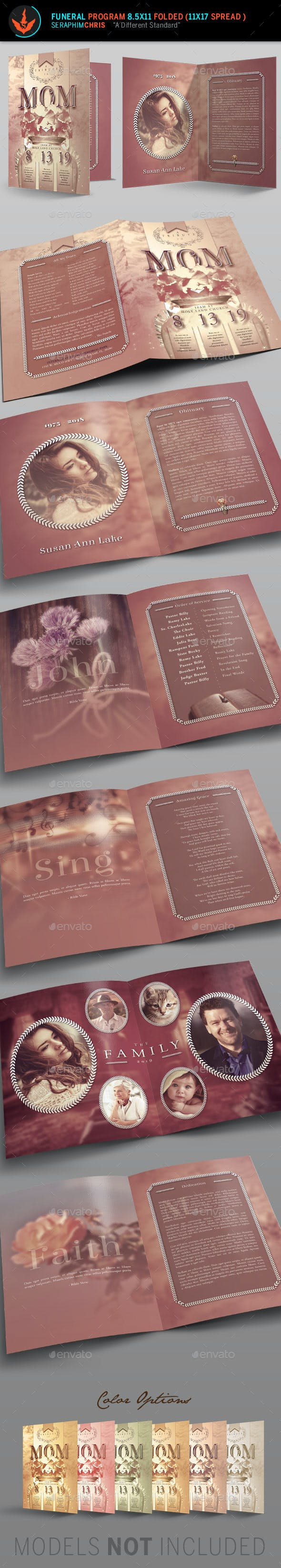tribute funeral program template by seraphimchris graphicriver