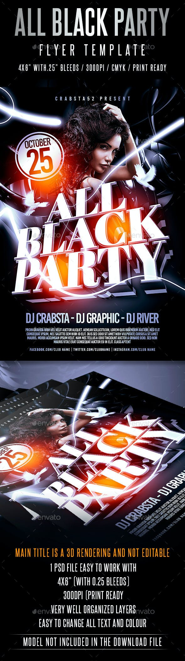 all black party flyer template by crabsta52 graphicriver