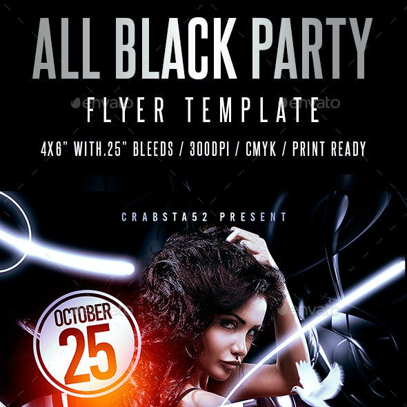 all black party graphics designs templates from graphicriver