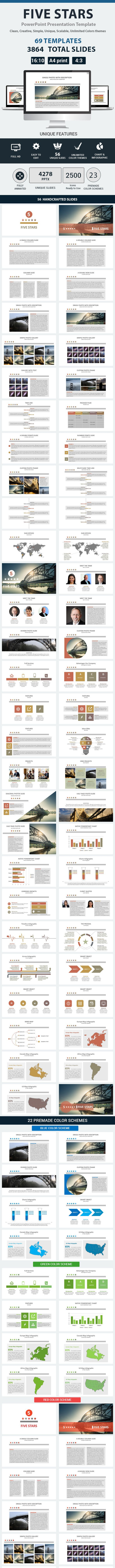 five stars powerpoint presentation template by rainstudio graphicriver