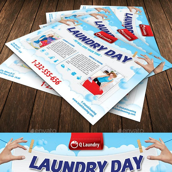 laundry service flyer template 113
