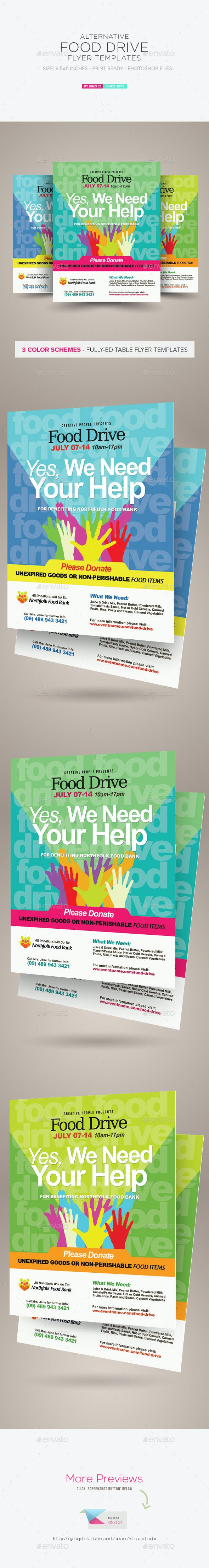 food drive flyer template by kinzishots graphicriver