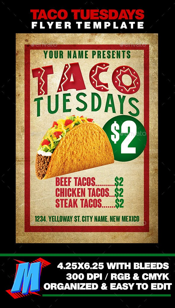 Taco Tuesdays Flyer Template By MegaKidGFX GraphicRiver