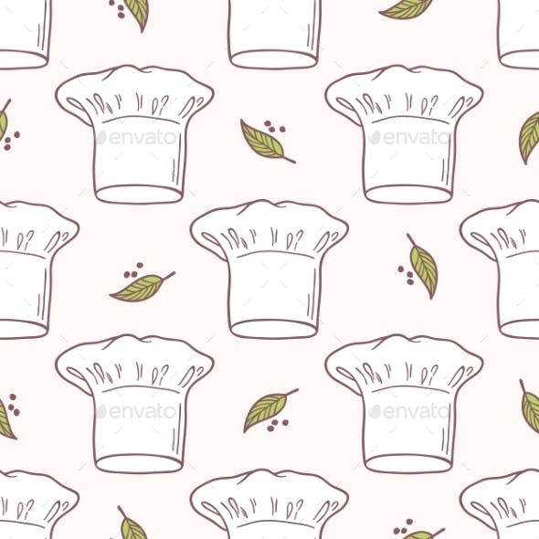 af1bd6e061e Seamless Pattern With Hand Drawn Chef Hat. - Patterns Decorative
