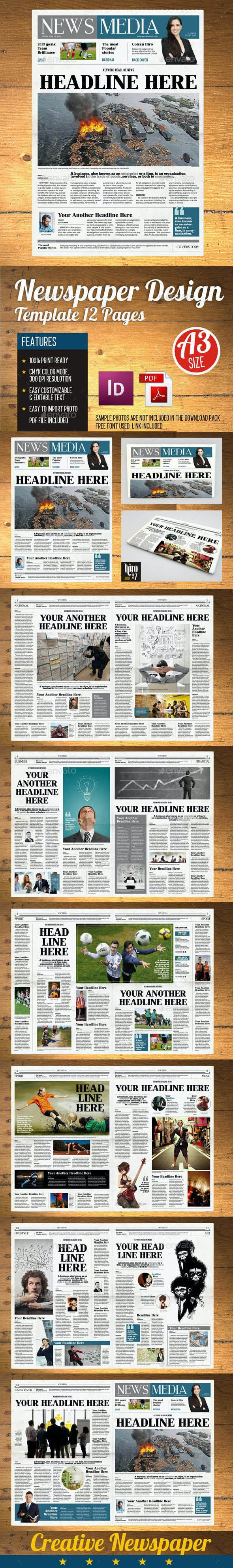 newspaper template 12 pages indesign a3 by hiro27 graphicriver