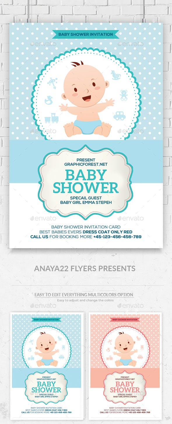 Baby Shower Invitation Card Psd By Graphicforestnet Graphicriver