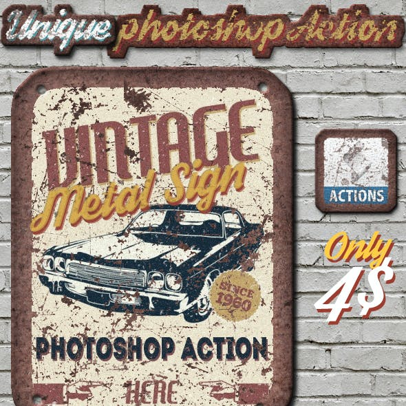 Vintage Metal Sign Photoshop Action by psddude | GraphicRiver