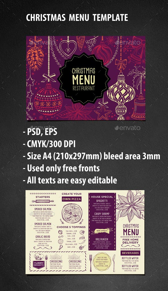 christmas restaurant template by barcelonadesignshop graphicriver