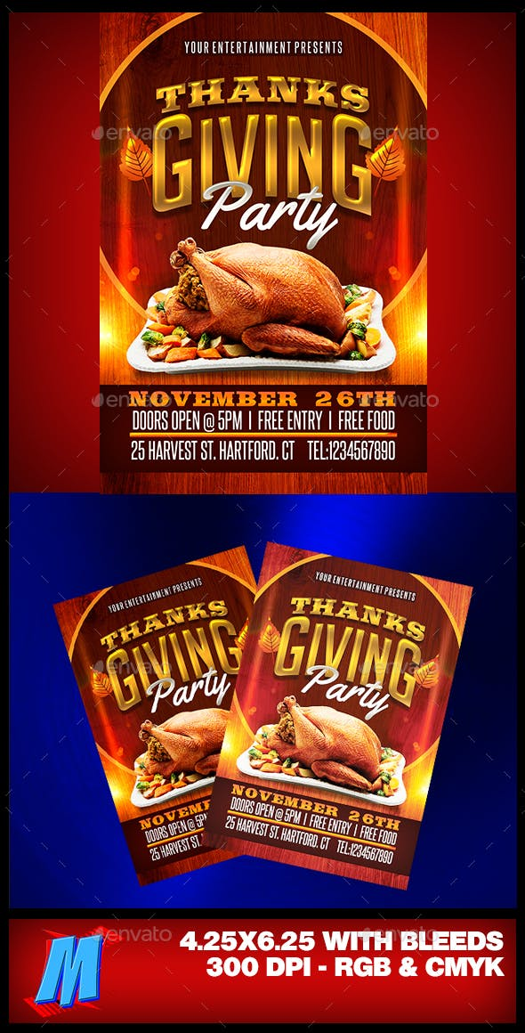 thanksgiving party flyer template by megakidgfx graphicriver