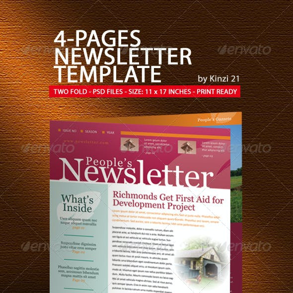 4 pages newsletter template by kinzi21 graphicriver