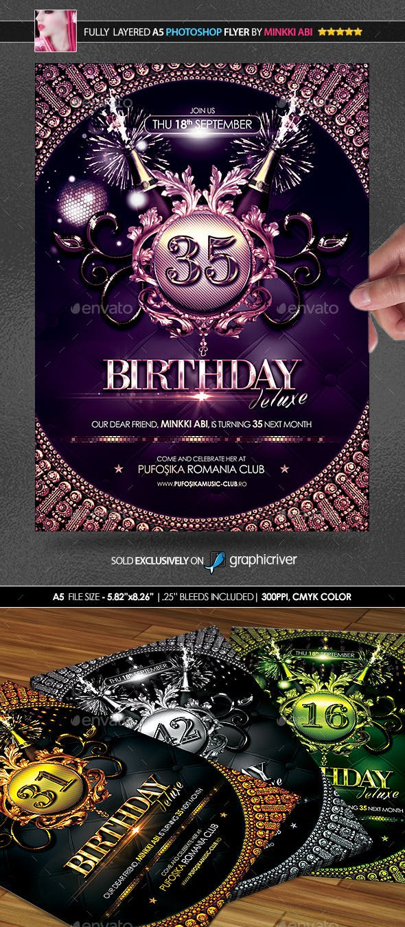 birthday deluxe poster flyer by minkki graphicriver