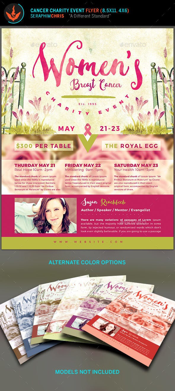 Breast Cancer Charity Event Flyer Template By Seraphimchris