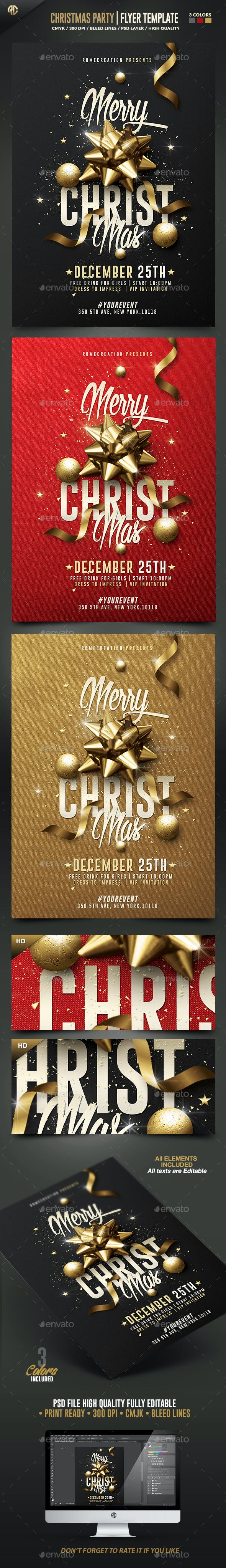Cly Christmas Party Psd Flyer Template By Romecreation
