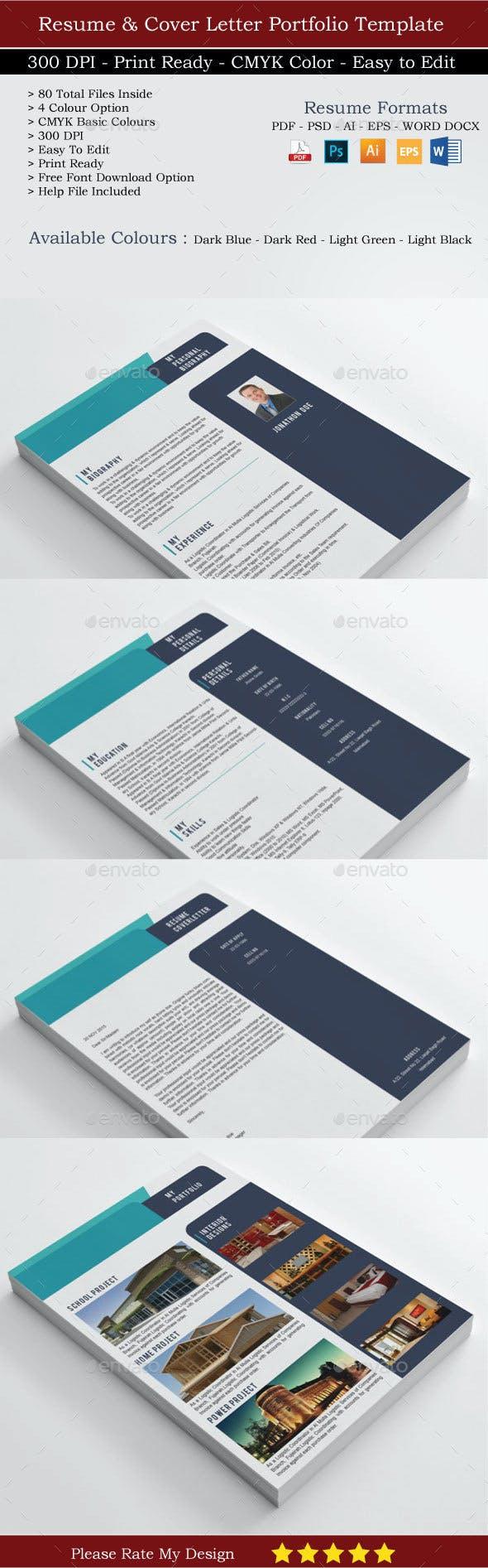 Resume and Cover letter Portfolio by shujaktk   GraphicRiver