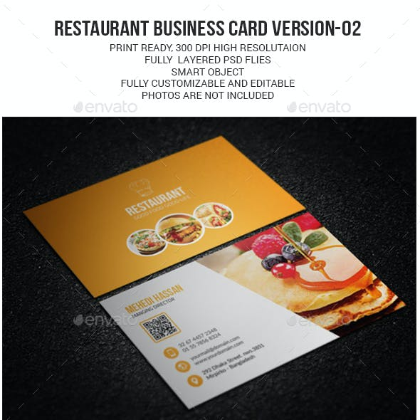 restaurant business card version 02 - Restaurant Business Card