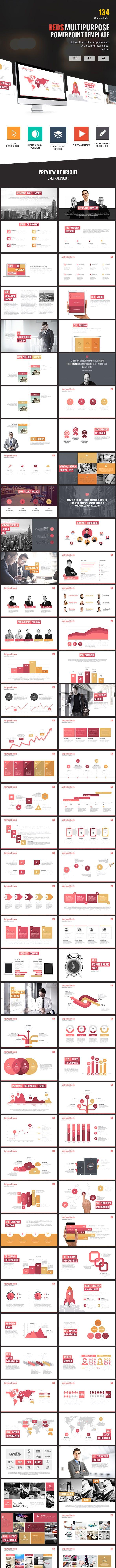 red s creative multipurpose powerpoint template by slidewerk