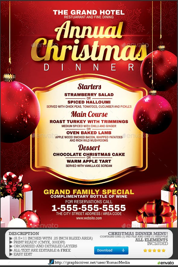 christmas dinner menu by romacmedia graphicriver
