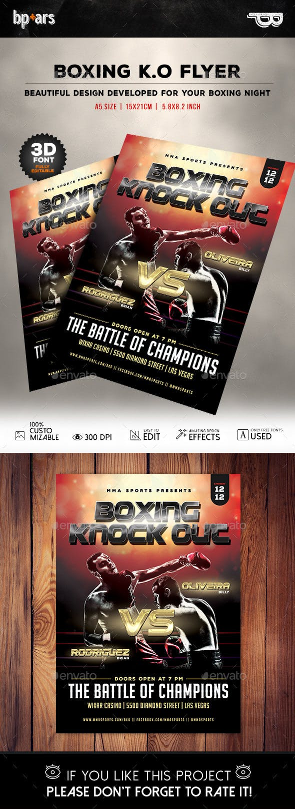 boxing fight flyer template by bp ars graphicriver