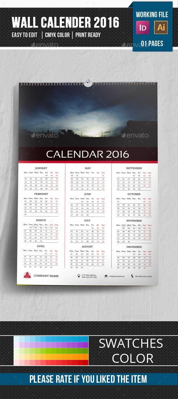 Wall Calendar Template 2016 V16 By Sydneytec Graphicriver