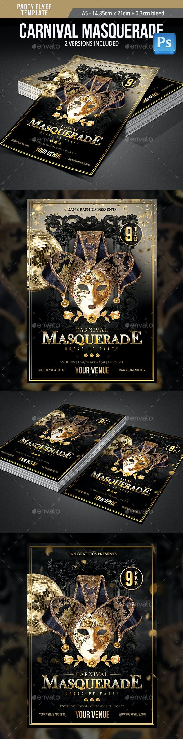 carnival masquerade dress up party flyer template by sangraphics