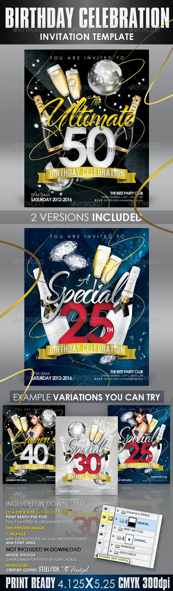 birthday invitation templates club flyer style by creativb