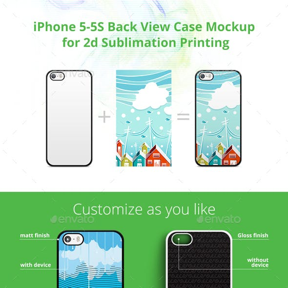 Iphone 5 5s Case Design Mockup For 2d Sublimation Printing Back View