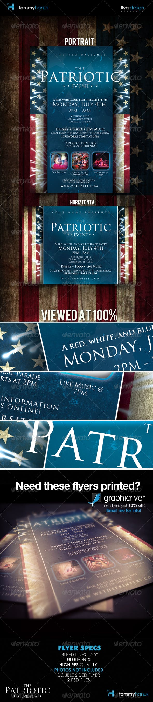 patriotic 4th of july flyer template by tommyhanus graphicriver