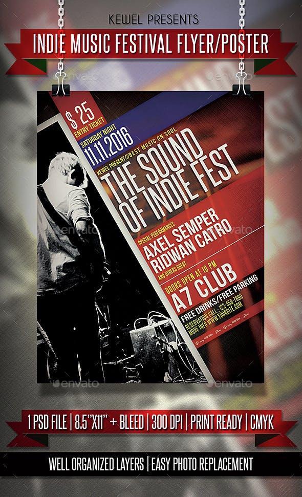 indie music festival flyer templates by keweldoank graphicriver