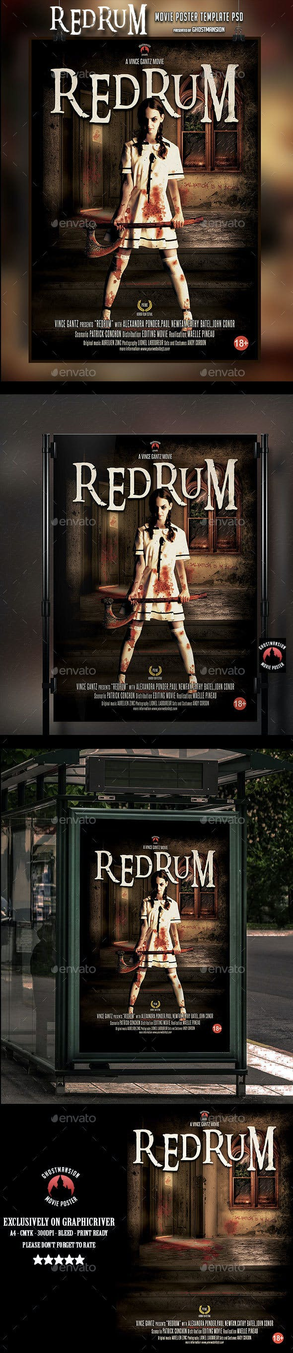 redrum movie poster template psd by ghostmansion graphicriver