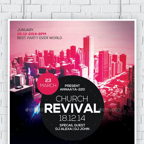 revival in the city church flyers bundle