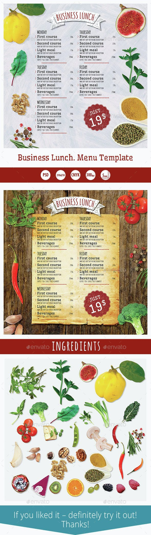 business lunch menu template by kreatorr graphicriver